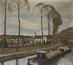 Bernard BOUTET DE MONVEL (1881-1949) Canal du Loing, circa 1910 Huile sur toile. Toile en deux parties assemblées, signée en bas à droite (légers manques en haut à gauche). Au dos ancienne étiquette de collection localisant l'œuvre. 98,5 x 109 cm