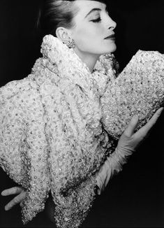 Capucine in pearl-studded white satin stole & matching clutch by Christian Dior, 1956. Photo by Henry Clarke for Vogue.