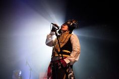 Awesome fan pic of Adam Ant, back on stage and rocking the hell outta his signature pirate digs.