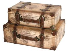 Old World Map Leather Vintage Style Suitcase with Straps, Set of 2
