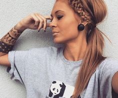 Strawberry blonde hair. Pony tail with braid. Casual hair