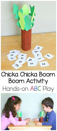 Mini Chicka Chicka Boom Boom Play Set for Kids using a cardboard tube (toilet paper roll) and free printable letters. Hands-on way to retell the story story and practice letter recognition! ~ BuggyandBuddy.com