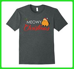 Mens Funny Christmas Meowy Cat Kitty Xmas Gift Novelty Shirt Small Dark Heather - Animal shirts (*Amazon Partner-Link)