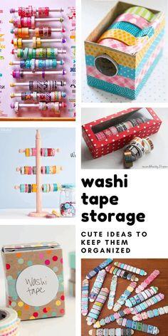 20 DIY Washi Tape Storage Ideas You Need to Control Your Stash – Herzlich willkommen Diy Washi Tape Dispenser, Diy Washi Tape Storage, Washi Tape Crafts, Duck Tape Crafts, Craft Desk, Craft Room Storage, Storage Ideas, Cute Desk Organization, Organisation Ideas