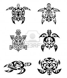 Ensemble de tatouage de tortue Banque d'images - 13816952