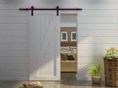 6.6 FT Country Dark Coffee Steel Sliding Barn Wood Door Hardware Black Antique - Amazon.com