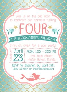 Mermaid birthday invitation under the sea mermaid birthday invite under the sea mermaid birthday party invitation by livealifebydesign on etsy null filmwisefo Gallery