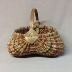 Medium Sized Hand Woven Egg Basket with Rust and by DiannesBaskets