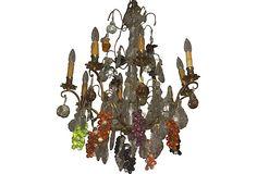 Bronze Chandelier w/ Crystal Fruit on OneKingsLane.com
