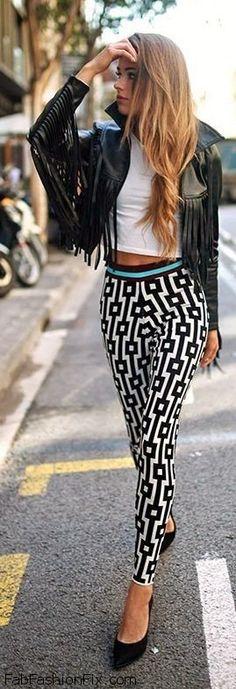 Fringe leather jacket, crop top and printed pants for spring style. #croptop #fringe