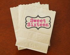 Sweet 16 Party Favor Bags  Popcorn Candy by NottinghamPaperGoods