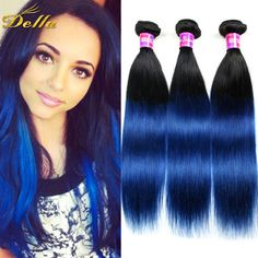 (101.05$)  Watch here  - 3Pcs/Lot 1B Blue Ombre Brazilian Straight Virgin Hair Ombre Blue Brazilian Hair Bundles Two Tone 1B Blue Ombre Brazilian Hair