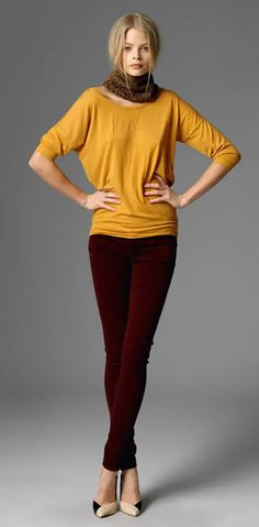 Great Fall Colors of 2012, Mustard and Burgundy, would pair lovely with a leopard scarf