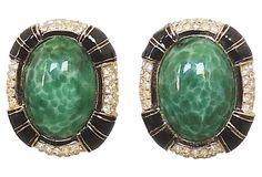1980s Ciner Faux-Jade Cabochon Black Enamel Earrings