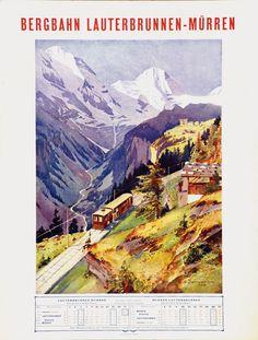 Lauterbrunnen Murren / Baumgartner Travel Ads, Train Travel, Travel Photos, Vintage Ski Posters, Art Deco Posters, Swiss Travel, European Travel, Fürstentum Liechtenstein, Poster City