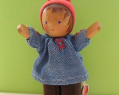 Miniature Profuond wooden doll: vintage, marked, handmade, handpainted, dollhouse