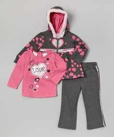 Pink & Gray 'Love' Tee Set - Infant