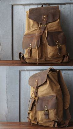 Canvas Backpack Rucksack Schoolbag Leather Backpack Handmade Leather Bag