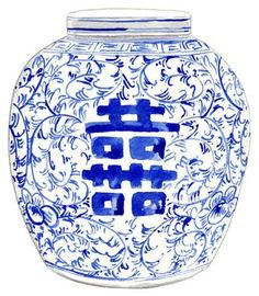 Ginger Jar Vase No. 8 by Laura Row Studio Blue And White Fabric, Blue And White Vase, Blue China, China China, Blue Plates, White Plates, Chinoiserie Chic, Chinese Antiques, Arabesque