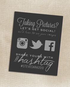 CUSTOMIZABLE - Wedding Instagram Facebook Twitter Black Hashtag Print - Printable - Digital JPG File 8x10
