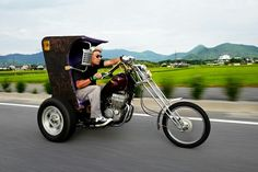 70s style fiberglass trike chopper with extended girder front end and Yamaha XS400 engine