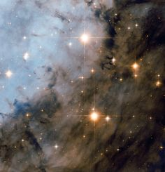 The NASA/ESA Hubble Space Telescope has once more turned its attention towards the magnificent Eagle Nebula (Messier 16). This picture shows the northwestern part of the region, well away from the centre, and features some very bright young stars that formed from the same cloud of material. These energetic toddlers are part of an open cluster and emit ultraviolet radiation that causes the surrounding nebula to glow