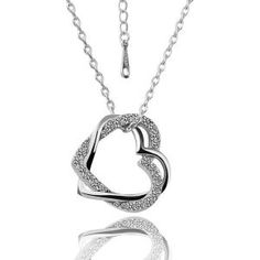 18k White Gold Plated Clear Crystal Wedding Bridal Double Heart Necklace N69