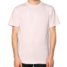 Polygonl white wolf Unisex T-Shirt (on man)