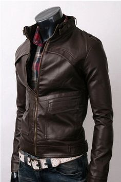 Men Brown Leather Jacket  men slim biker Leather by carpetncarpet