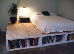 This is a brilliant solution for a college student who moves around a lot or anyone living in a small apartment who needs storage anywhere possible. A DIY platform bed with additional storage space at a reasonable price!