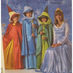 Simplicity 8328 Disney Princess Aurora, Mistresses Flora, Fauna & Merryweather: Dress, Cape and Hat create costumes from Disney's Sleeping Beauty.