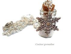 Collier fiole poudre argenté flocon de neige argent tibétain : Collier par couleur-grenadine33