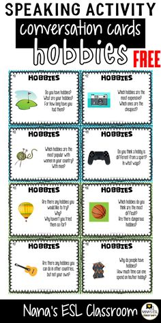Ignite conversation in your classroom with these engaging conversation starter cards about hobbies. A total of 40 cards with one or more questions per card. Learning English For Kids, English Lessons For Kids, Esl Lessons, English Language Learning, English Class, Teaching English, Learn English, Teaching Spanish, French Lessons