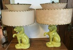 Vintage Mid Century Chartreuse Sitting Tiger Table Lamps Fiberglass Shades | eBay Hurricane Lamps, Vintage Lamps, Vintage Hollywood, Mid-century Modern, Great Gifts, Mid Century, Table Lamp, Shades, Ebay