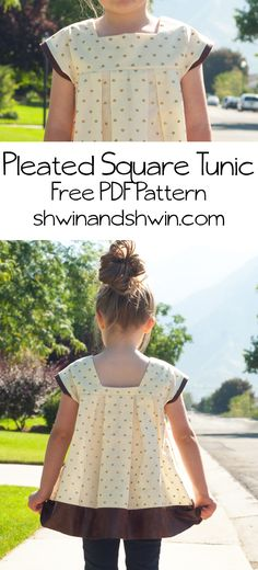 A free PDF Pattern for a Pleated Square Tunic. A simple tunic with square neck and pleated bodice. Easy Sewing Projects, Sewing Projects For Beginners, Sewing Hacks, Sewing Tutorials, Sewing Crafts, Sewing Ideas, Sewing Designs, Sewing Blogs, Sewing Tips
