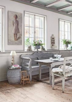 """Shabby""""stands for""""run down"""",""""poor"""",""""shabby"""". Decoration in Shabby chic style is a truly noble cause. Shabby Chic Kitchen, Shabby Chic Homes, Muebles Shabby Chic, Decoration Shabby, Swedish Decor, Vibeke Design, Swedish Interiors, Vintage Interiors, Farmhouse Style Decorating"""