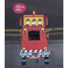 Here's more from AMV BBDO's campaign for the Museum. Illustrators created street art, encouraging people around the Museum to see the world through the eyes of a child. Find out more here www.mocseetheworld.com/ #AMVBBDO #fireengine #illustration