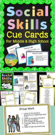 Social Skills Cue Cards for Middle and High School - Social reminder cards for older students who have trouble in social and academic situations