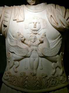 From a statue of Trajan, 2nd century CE, Antalya Archeological Museum. Perge collections: Breast plate with gorgoneion and griffins.
