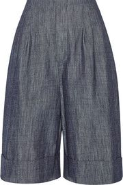 Adam Lippes Pleated denim shorts