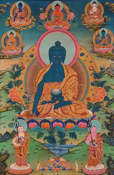 Tibetan Thangka Painting - Assembly of the Medicine Buddha