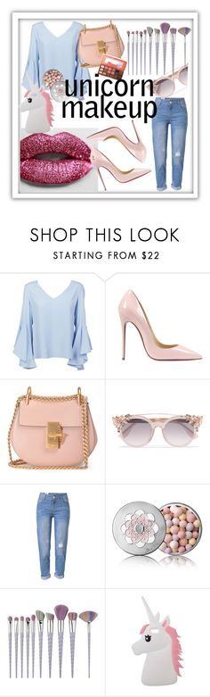 """unicor makeup"" by kylie-zibihdz-1 ❤ liked on Polyvore featuring beauty, Fountain, Dondup, Christian Louboutin, Chloé, Jimmy Choo, WithChic, Guerlain and Miss Selfridge"