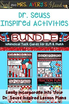 This bundle of Dr. Seuss inspired classroom activities is ready to be incorporated into your National Read Across America lesson plans.  Stock your March literacy and math centers with four new engaging and whimsical task card sets during the month of March while celebrating the life of Dr. Seuss with your students.