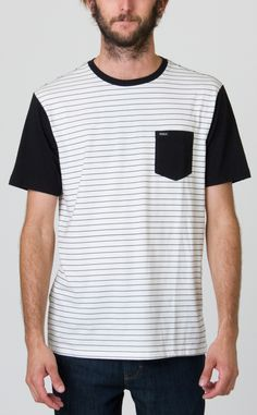 The RVCA Change Up is a jersey knit shirt with contrasting short sleeves, ribbed crewneck, and a patch pocket at the left chest with RVCA solo label.