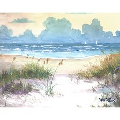 Watercolor landscape sea oats Painting PRINT ocean seascape sailboats sailing sunset beach surf Giclee Reproduction yellow teal taupe