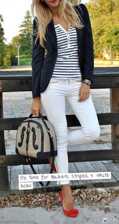 Navy Blazer, Stripes, White Skinnies, Red pumps