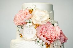 close up of flowers on cake