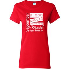 Blood Cancer Awareness Month Women's T-Shirt featuring a red ribbon and an eye-catching label design for advocacy #bloodcancer #bloodcancerawareness #bloodcancerawarenessmonth
