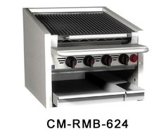 "Magikitch'n Coal Charbroiler 72"" wide - CM-SMB-672    Magikitch'n Coal Charbroiler 72"" wide - CM-SMB-672  Coal Charbroiler, counter model, gas, 72"" wide, 17-1/2"" high, free floating round rod top grate with EZ tilt to front grease trough, ceramic briquettes, 95% s/s unit, 6"" service shelf with utility bar, water tubs, without legs for equipment stand, cleaning brush"