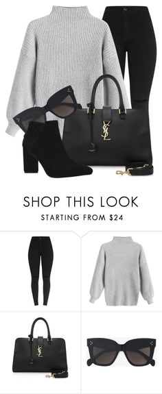 """10:09"" by monmondefou ❤ liked on Polyvore featuring Yves Saint Laurent, CÉLINE, black and gray"